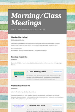 Class Meetings: March 4th - 8th