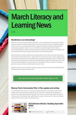 March Literacy and Learning News