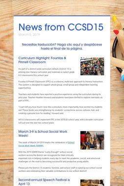 News from CCSD15