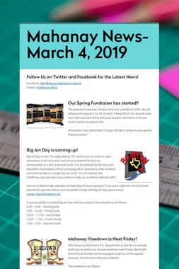 Mahanay News- March 4, 2019