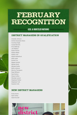 FEBRUARY RECOGNITION