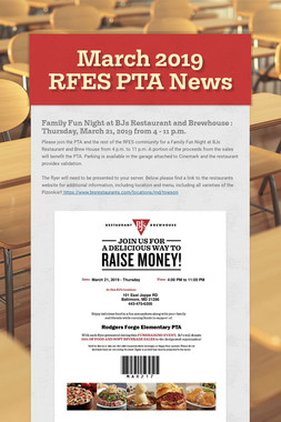March 2019 RFES PTA News