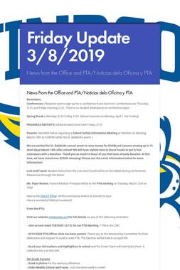 Friday Update 3/8/2019