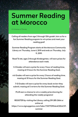 Summer Reading at Morocco