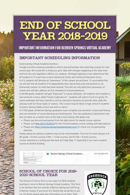 End of School Year 2018-2019