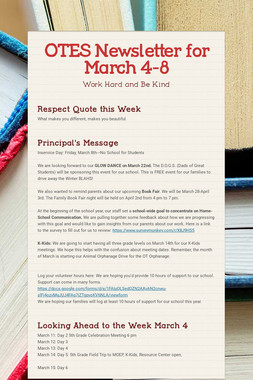 OTES Newsletter for March 4-8