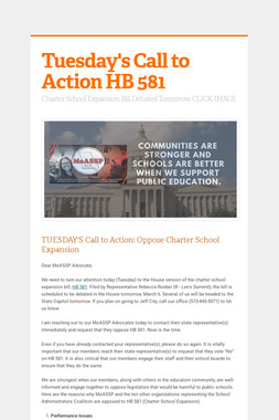 Tuesday's Call to Action HB 581