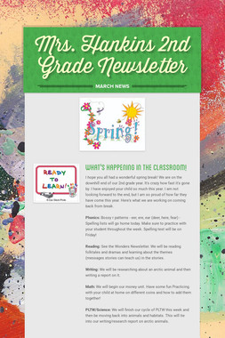 Mrs. Hankins 2nd Grade Newsletter