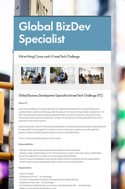 Global BizDev Specialist