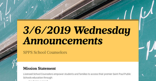 Spps Calendar.3 6 2019 Wednesday Announcements Smore Newsletters For Education
