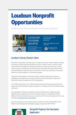 Loudoun Nonprofit Opportunities