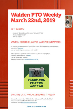 Walden PTO Weekly March 22nd, 2019