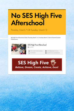 No SES High Five Afterschool