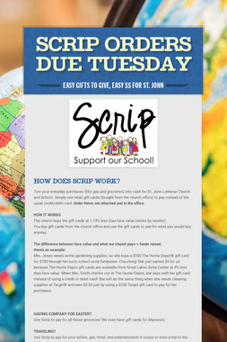 SCRIP Orders Due Tuesday