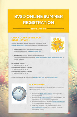 BVSD Online Summer Registration