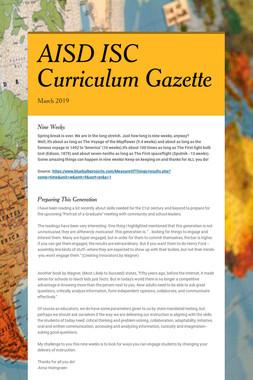 AISD ISC Curriculum Gazette