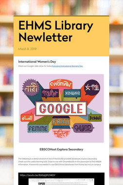 EHMS Library Newletter