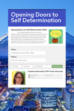 Opening Doors to Self Determination