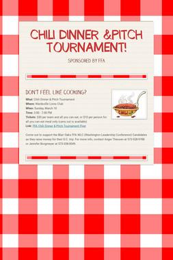 CHILI DINNER &PITCH TOURNAMENT!