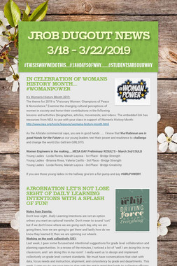JROB Dugout News 3/18 - 3/22/2019