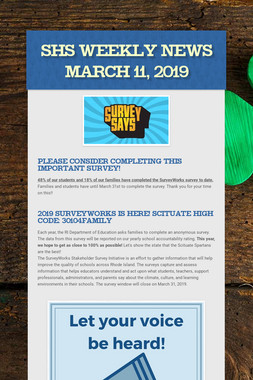 SHS Weekly News March 11, 2019