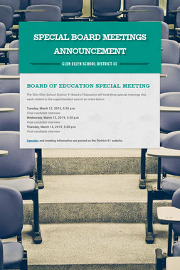 Special Board Meetings Announcement