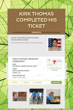 Kirk Thomas Completed His Ticket