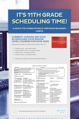 It's 11th Grade Scheduling Time!