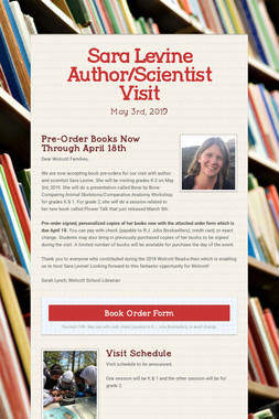 Sara Levine Author/Scientist Visit