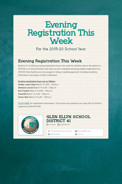 Evening Registration This Week