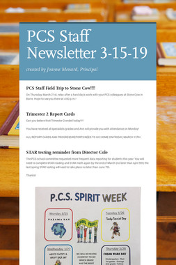 PCS Staff Newsletter 3-15-19
