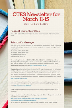 OTES Newsletter for March 11-15