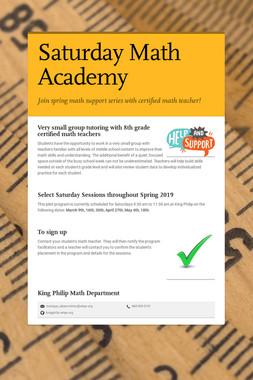 Saturday Math Academy