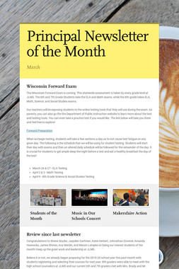Principal Newsletter of the Month