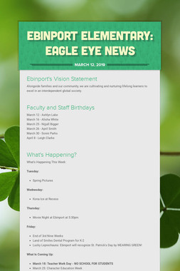 Ebinport Elementary: Eagle Eye News