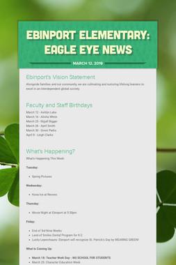 Ebinport Elementary: Eagle Eye News