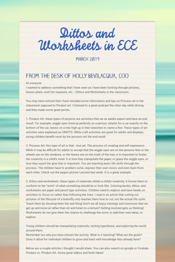 Dittos and Worksheets in ECE