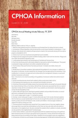 CPHOA Information