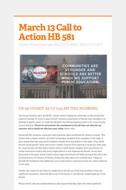 March 13 Call to Action HB 581