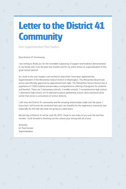 Letter to the District 41 Community