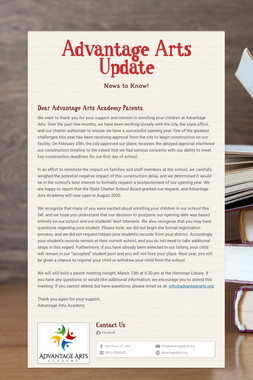 Advantage Arts Update