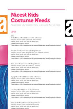 Nicest Kids Costume Needs