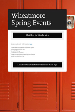 Wheatmore Spring Events