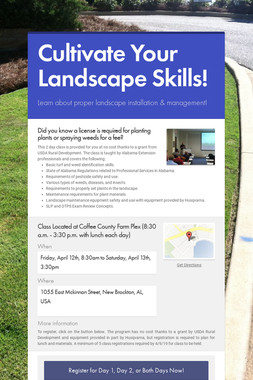 Cultivate Your Landscape Skills!