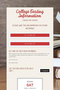 College Testing Information