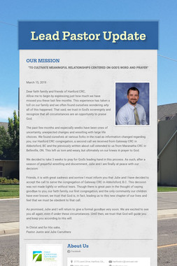 Lead Pastor Update