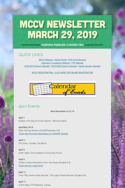 MCCV Newsletter March 29, 2019