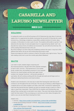 Casarella and LaRusso Newsletter