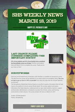 SHS Weekly News March 18, 2019