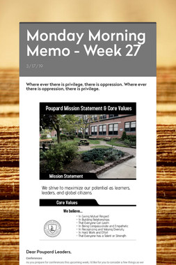 Monday Morning Memo - Week 27